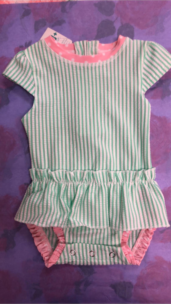 Mint Seersucker 1-piece Infant/Toddler Bathing Suit