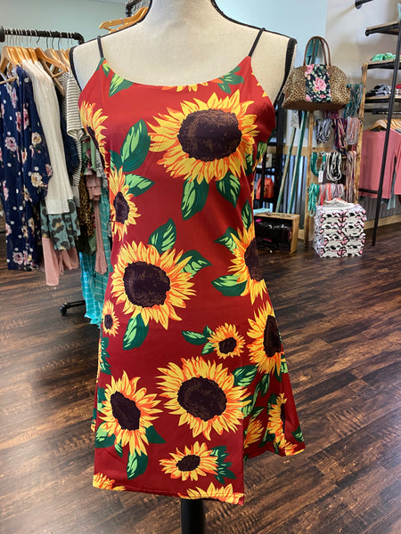 Medium Red Sunflower Slinky Dress