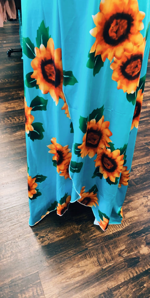 Medium Teal Sunflower Plunging V-Neck Dress