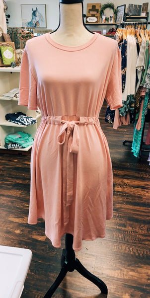 Small Smokey Pink Waist Tie Dress