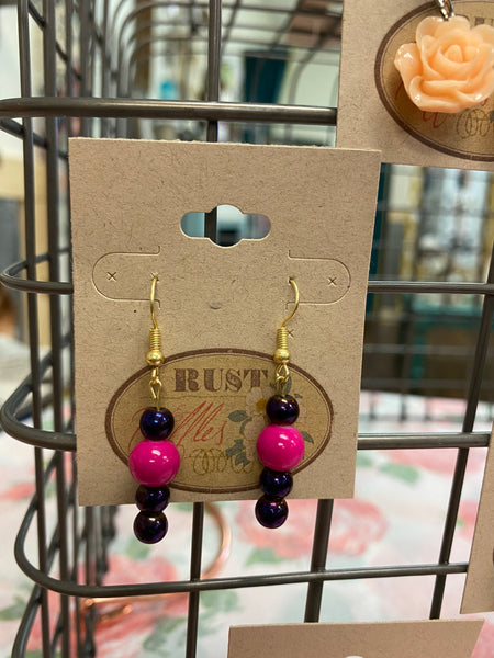 Pink & Purple Bead Earrings