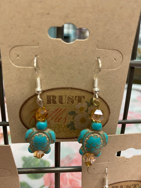 Teal Turtle & Opaque Brown Bead Earrings