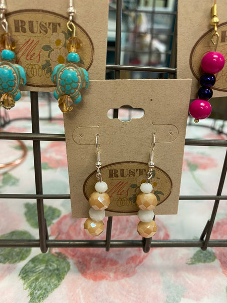 Cream & White Bead Earrings