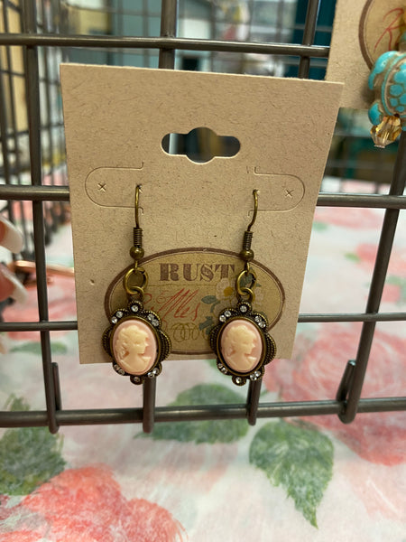 Pink & Bronze Cameo Earrings