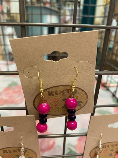 Purple & Pink Beaded Dangle Earrings