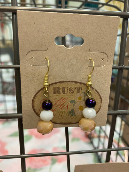Tri-Colored Bead Earrings