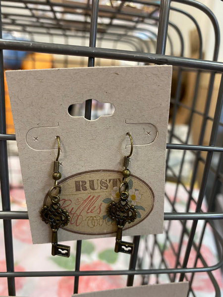 Bronze Key Charm Earrings