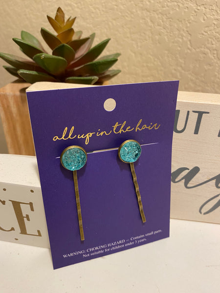 Teal Druzy Bobby Pins