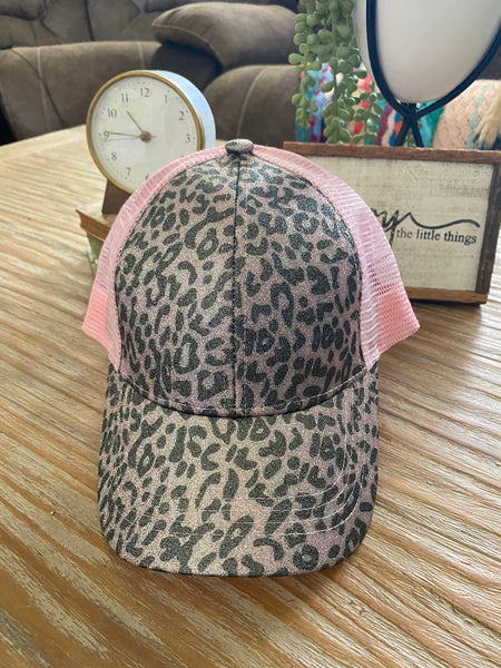 Pony Tail Cap: Leopard Pink