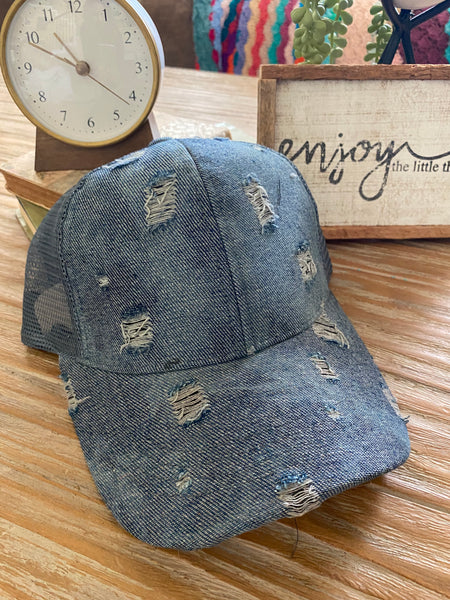 Distressed Denim Pony Tail Cap