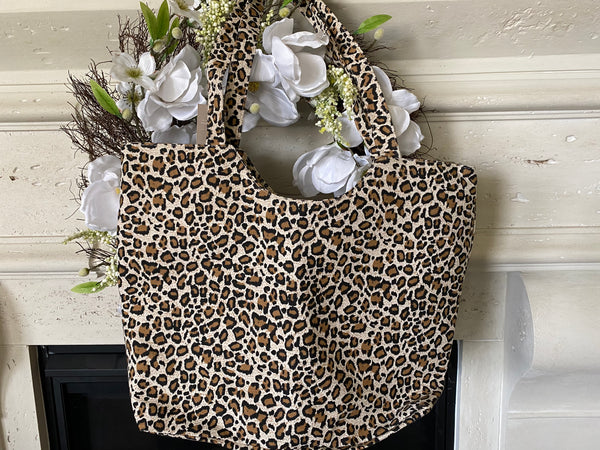 Zippered Leopard Print Tote Bag