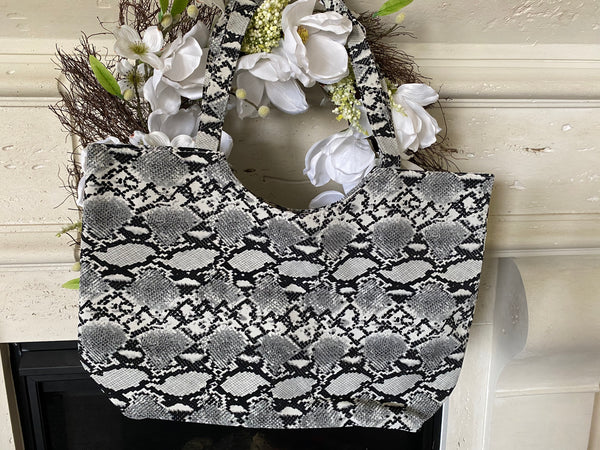 Zippered Snake Print Tote Bag