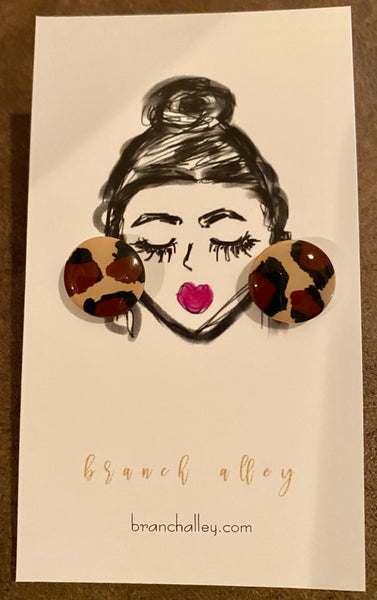 Small Clay Leopard Stud Earrings