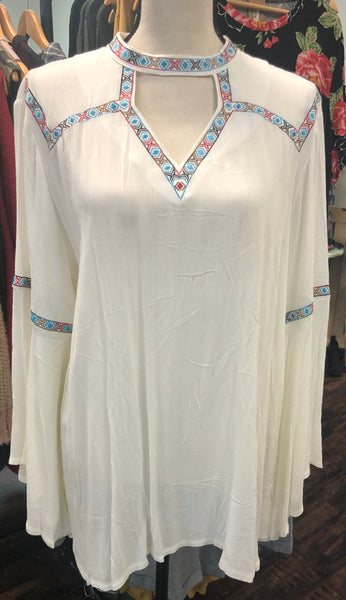 Bell Sleeved Embroidered Top