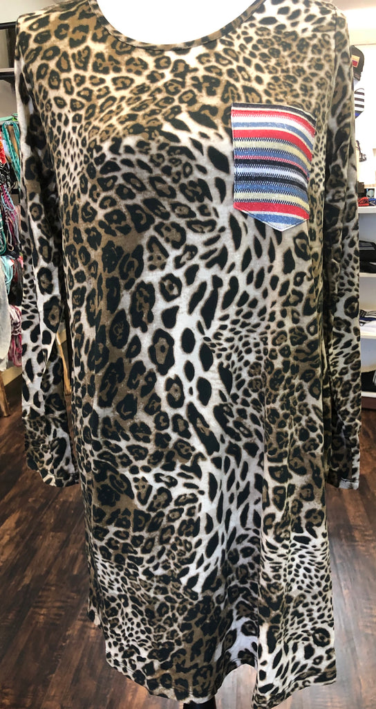 Leopard Dress w/ Serape Pocket