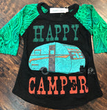 Toddler Happy Camper Lace Sleeved Shirt