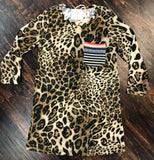 Girls Serape Pocket Leopard Dress