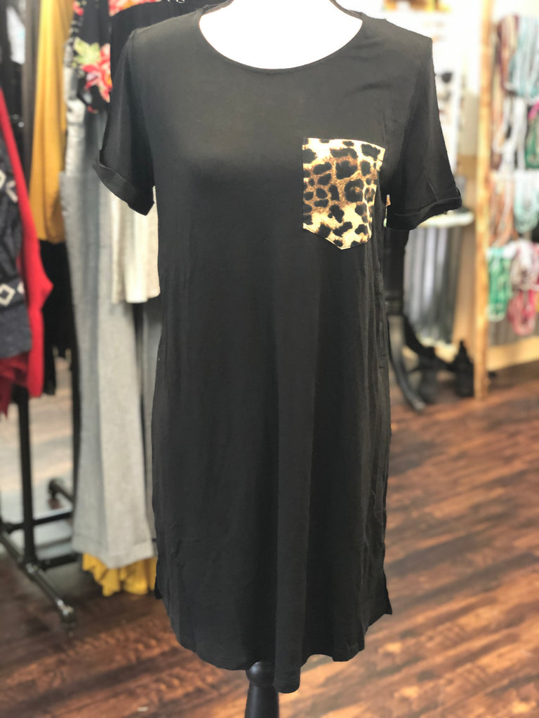 Black T-Shirt Dress w/ Leopard Pocket