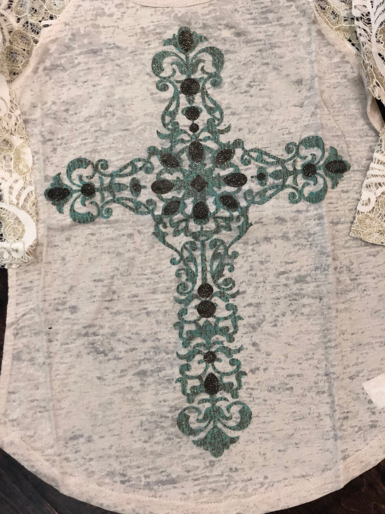 Youth Lace Sleeved Ivory Cross Top