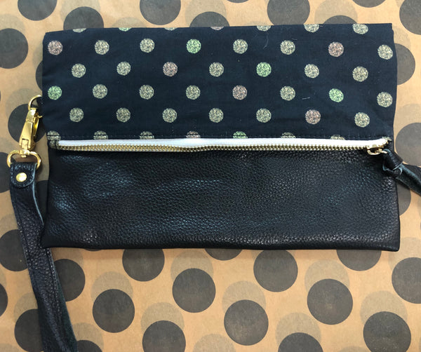 Leather Foldover Polka Dot Wristlet/Clutch