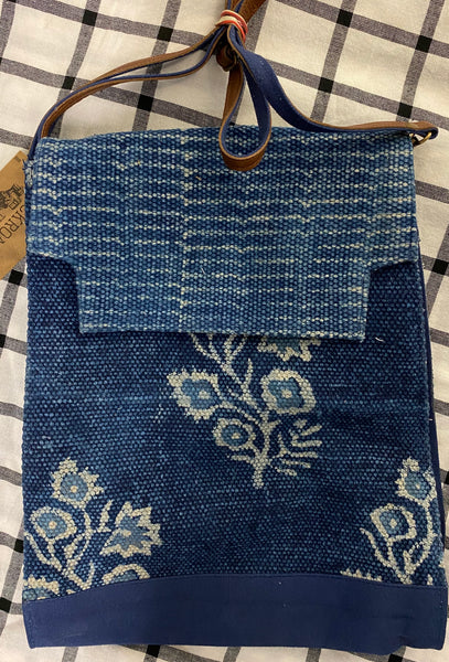 Blue Woven Floral Block Print Shoulder Bag