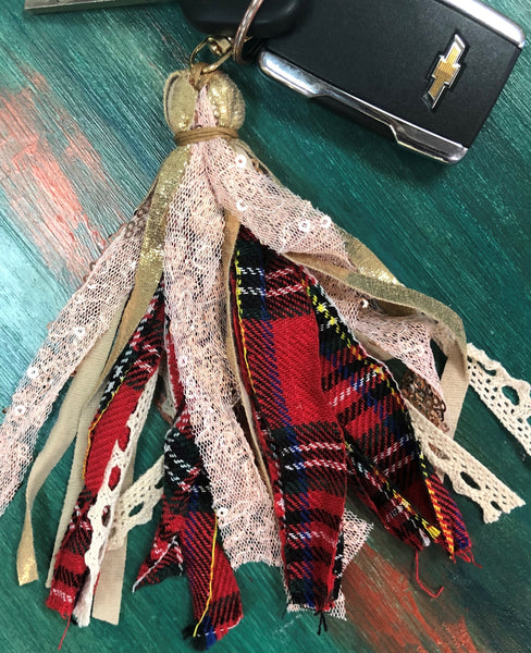 Red Plaid Tassel Keychain