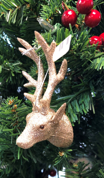 Champagne Glitter Deer Head Ornament