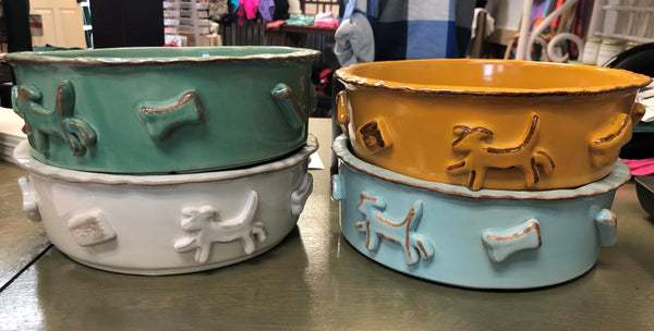 Large Carmel Ceramica Dog Food/Water Bowl