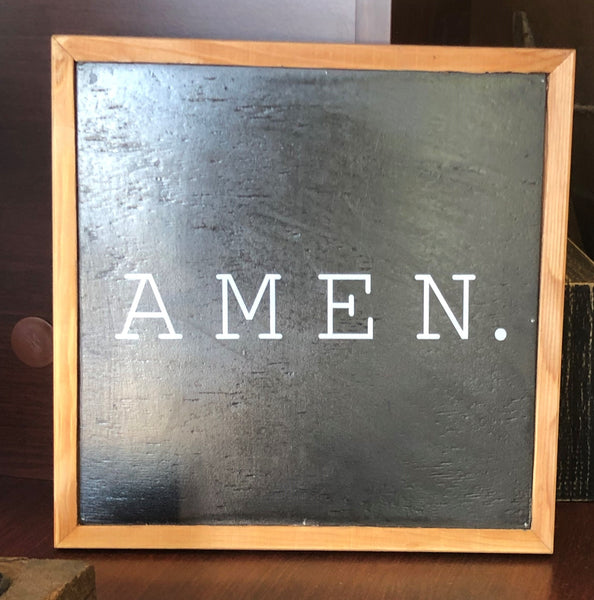 Amen Faux Chalkboard Sign