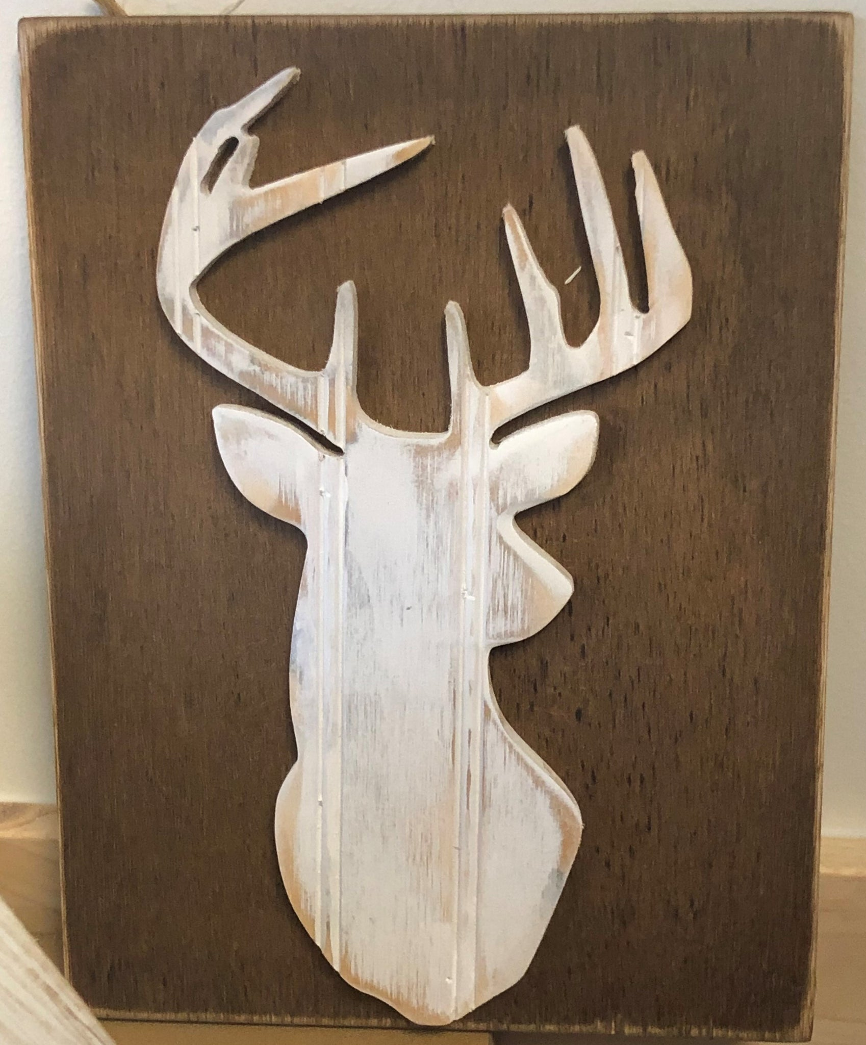 Wooden Deer Head Wall Hanger