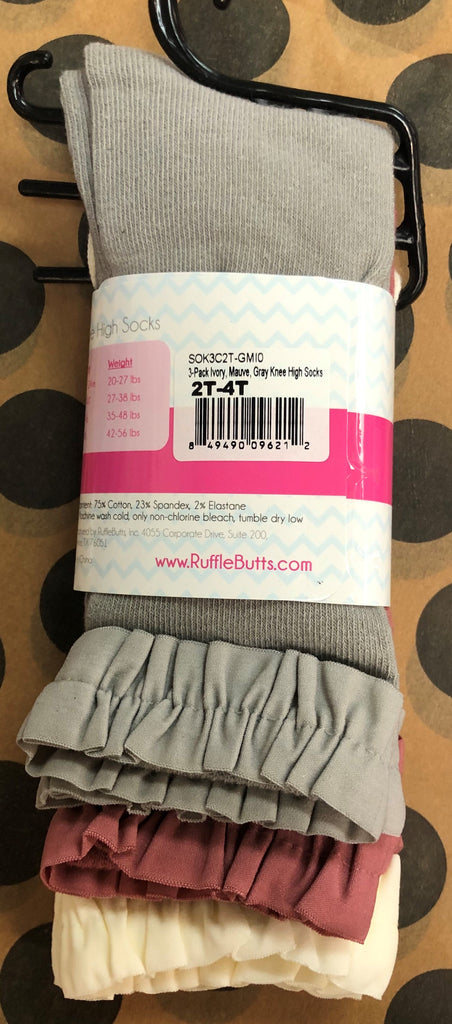 Ruffle Butts Knee High / Boot Socks (3Pk)