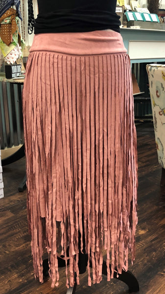 Juniors Mauve Suede Fringe Skirt