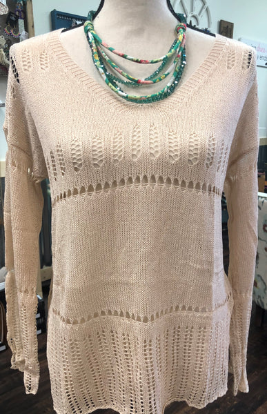 V Neck Crochet Patterned Sweater