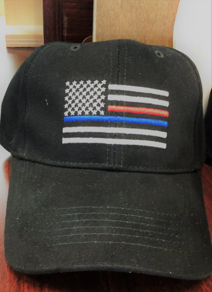 Thin Red/Blue Line Flag Cap