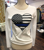 Thin Blue Line Heart Long Sleeved Tee