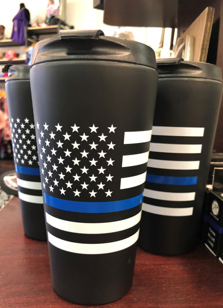 Thin Blue Line 16oz Travel Tumbler