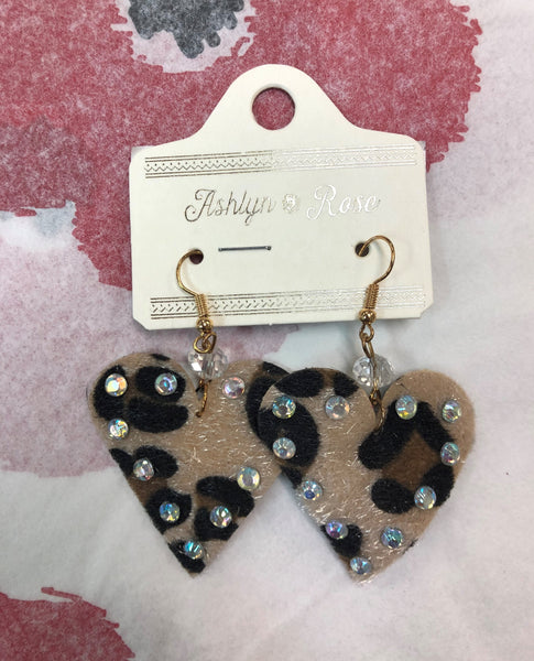 Leopard & Bling Heart Earrings