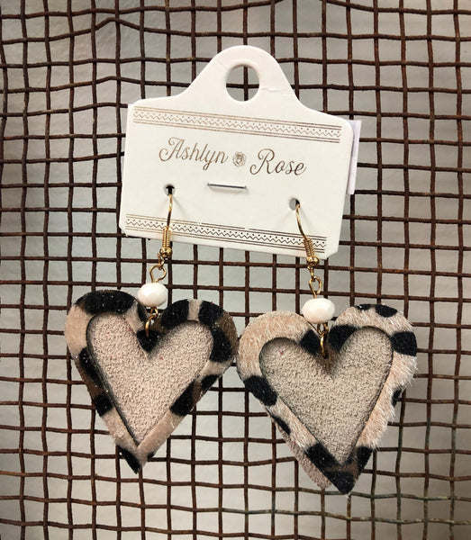 Cheetah Overlay Print Heart Earrings
