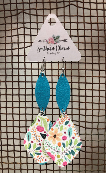Turquoise & Floral Two Teired Dangle Earrings