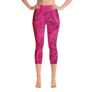 Cerise Dragon Fruit Design Yoga Capri Leggings - Yours fruitfully