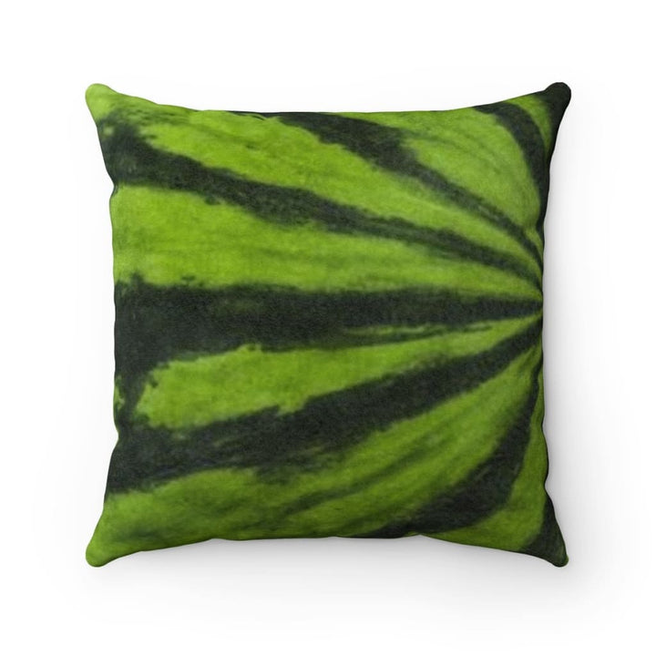 DK Green Melon Design Faux Suede Square Pillow - Yours fruitfully
