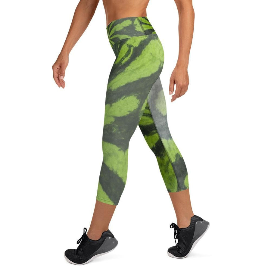DK Green Melon Design Yoga Capri Leggings - Yours fruitfully
