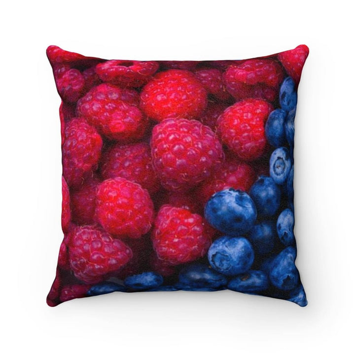 Faux Suede Square Pillow Case Blueberry Raspberry Design - Yours fruitfully