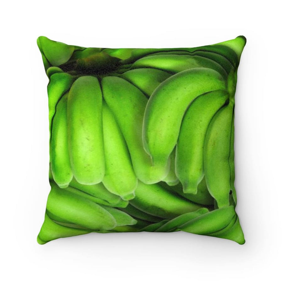 Green Banana Design Faux Suede Square Pillow - Yours fruitfully