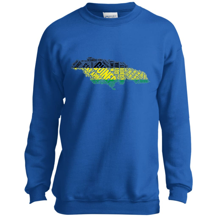 Jamaican Fruits Word Art Youth Crewneck Sweatshirt - Yours fruitfully