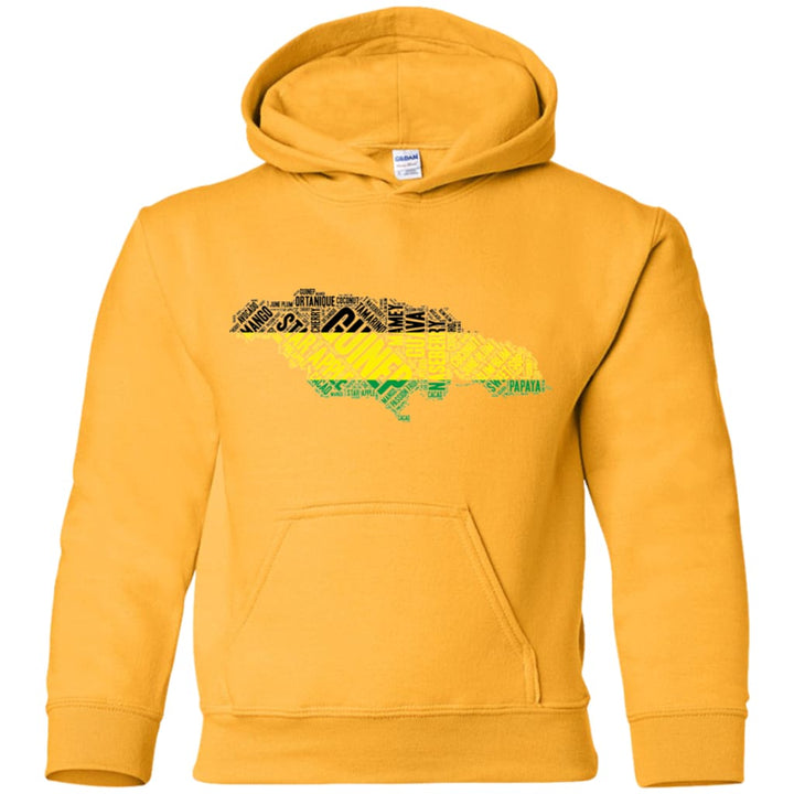 Jamaican Fruits Word Art Youth Pullover Hoodie - Yours fruitfully