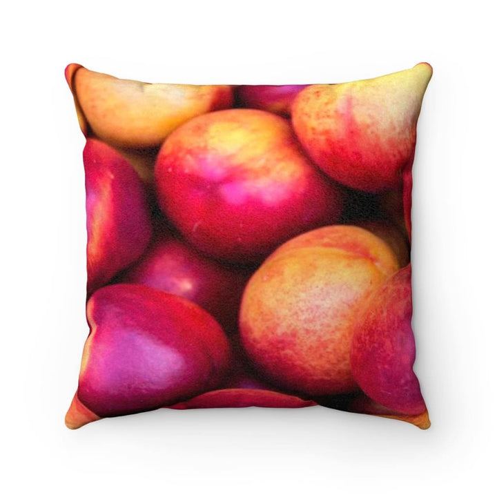 Nectarine Design Faux Suede Square Pillow - Yours fruitfully