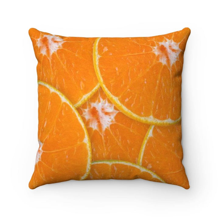 Orange Design Faux Suede Square Pillow Case - Yours fruitfully