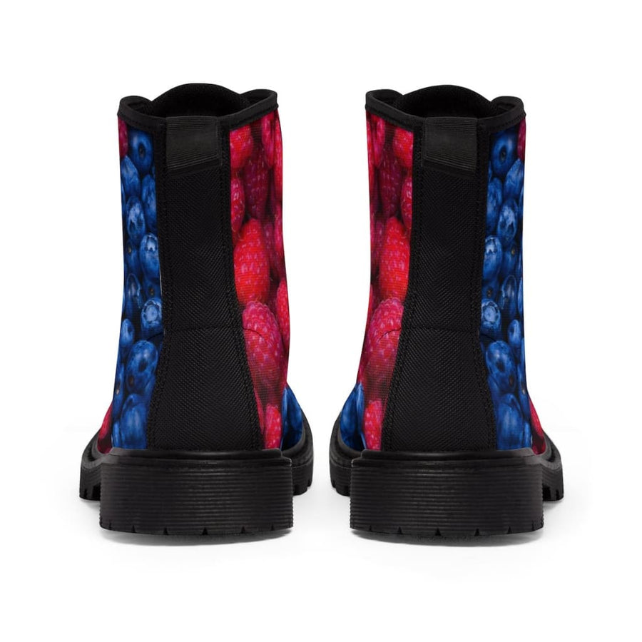 Raspberry-Blueberry Design Women's Canvas Boots - Yours fruitfully