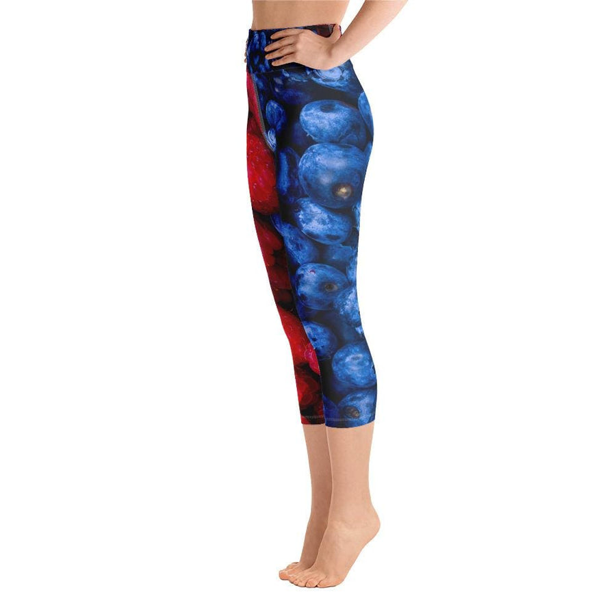 Raspberry & blueberry Design Yoga Capri Leggings - Yours fruitfully